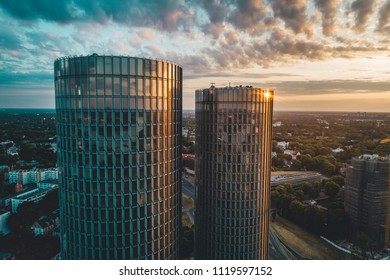 Riga, Latvia June 20, 2018 Multifunctional building, Modern glass skyscrapers, sunset time in city, downtown and apartment buildings.
