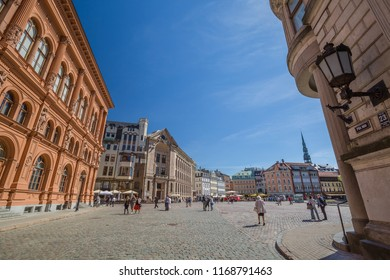 RIGA, LATVIA - June, 2018: cityscape. walking medieval streets of the old city in the center of Riga, Latvia. The Latvian Radio building in Riga Dome Cathedral Square, historic Old town - Vecriga.