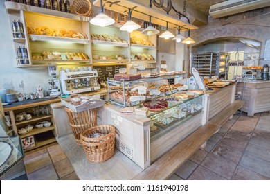 RIGA, LATVIA - June, 2018: sweet pastry shop. Showcase with sweets. Cakes, pastries, biscuits.