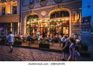 Riga, Latvia - June 25, 2016: Omas Briljants cafeteria and pub located on the Old Town of Riga city