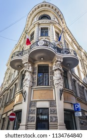 Riga, Latvia - June 25, 2016: Embassy of Italy facade in the old part of Riga city