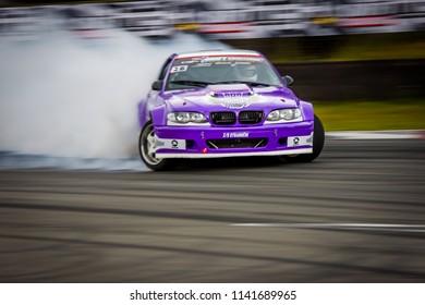 RIGA, LATVIA June 30th 2018: Drift car in motion. Photo taken on the HGK Drift Challenge event shown on June 30th 2018 on Bikernieki raceway