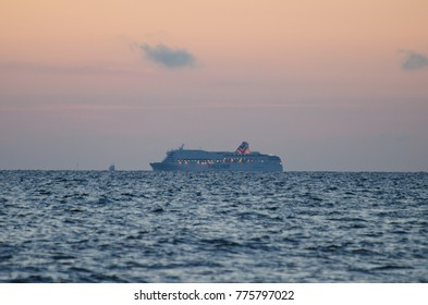 "RIGA, LATVIA - JUNE 8, 2013: ""Tallink"" passenger ferry in the Baltic sea"