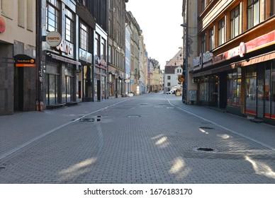 RIGA, LATVIA - March. 17. 2010: Empty Riga Old city streets during COVID-19