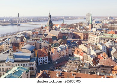 Riga, Latvia - March 19, 2015: Aerial view of buildings in old center of town