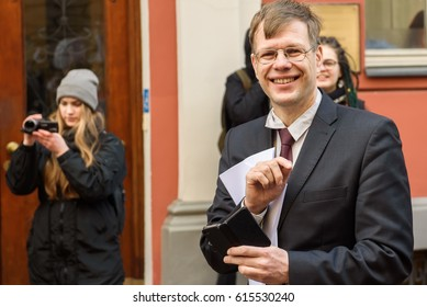 RIGA, LATVIA - March 30, 2017. Einars Cilinskis, member of Parliament, at protest against wildlife animal use at Circus, near Parliament of Latvia, in Riga , Latvia.