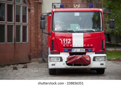 RIGA, LATVIA - MARCH 6, 2015: Iveco based firetruck at the depot