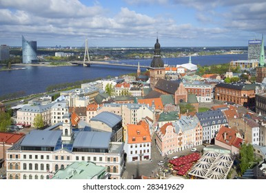 RIGA, LATVIA - MAY 02, 2014: Spring day above the old town