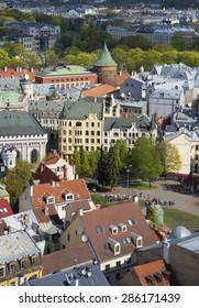 RIGA, LATVIA - MAY 02, 2014: Corner of old Riga, on a spring day