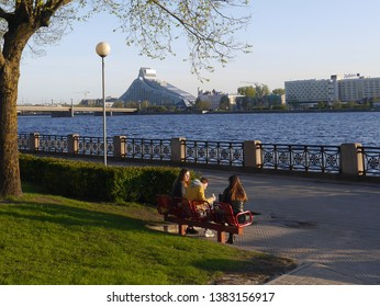 Riga / Latvia - May 04.2018: Near the river Daugava in Riga.
