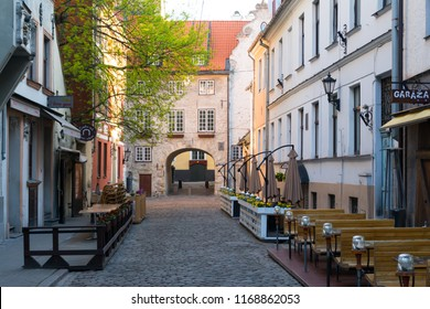Riga. Latvia. May 08, 2018. City cafe on Aldaru street near the Swedish gate.