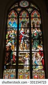 Riga, Latvia - May 1: Colorful stained glasses in Lutheran Cathedral in Riga, Latvia on May 1 2015. It is considered the largest medieval church in the Baltic States