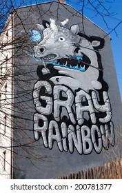 RIGA, LATVIA - MAY 1: The house with Kiwie Gray Rainbow graffiti on May 1, 2013 in Riga, Latvia