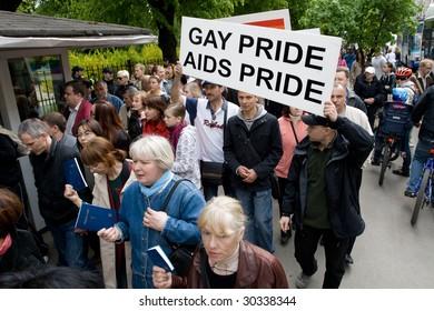 RIGA, LATVIA, MAY 16, 2009: Protesters against Baltic Gay Pride 2009 in Riga, Latvia, May 16, 2009.