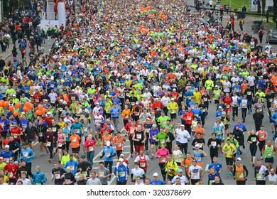 Riga, Latvia - May 17, 2015: Lattelecom Riga Marathon with 25 931 participants from 69 countries. Marathon and half marathon distance start.
