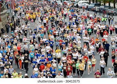RIGA, LATVIA - MAY 17 : Marathon runners in action at the Riga International Marathon on May 17, 2009 in Riga.