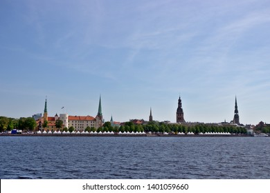 Riga, Latvia - MAY 18 2019: Riga old town over river Daugava