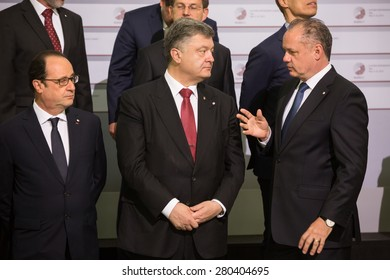 RIGA, LATVIA - May 22, 2015: Eastern Partnership Sammit. (L-R) French President Francois Hollande, President of Ukraine Petro Poroshenko and President of Slovakia Andrej Kiska