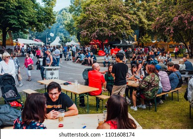 Riga, Latvia may 23, 2018 People at the festival drinking, eating and enjoying summer, festival season