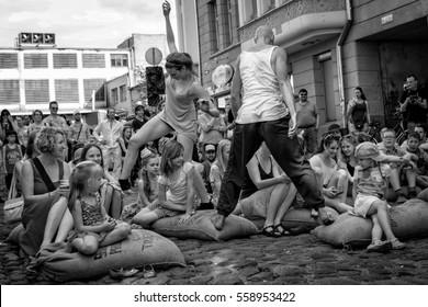 Riga, Latvia - May  24, 2014: Miera street Pentecost. Street dancers concert.
