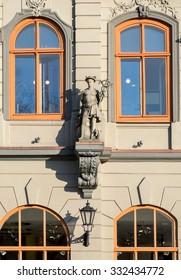 Riga, Latvia - May 3: Art Nouveau facade decoration  in Riga, Latvia on May 3 2015. Art nouveau architecture is one of Riga claims to fame.