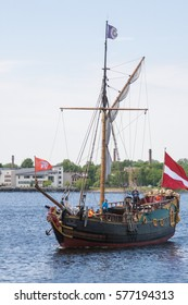 RIGA, LATVIA - MAY 30, 2015: Latvian tall ship LIBAVA comes from the sea to the harbor of Riga.