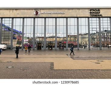 Riga, Latvia - November 10, 2018: View of facade of Central Train Station in Riga, Latvia