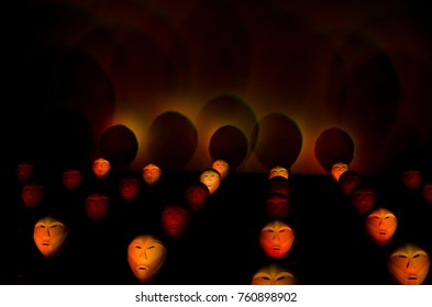 RIGA, LATVIA - NOVEMBER 18, 2012: StaroRiga festival. Light object the singing heads