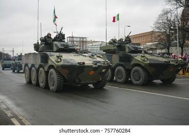 RIGA, LATVIA - NOVEMBER 18, 2017. Italian 8x8 wheeled Infantry fighting vehicle The Freccia at military parade in Riga, Latvia. Parade in honor of proclamation of Latvia, 18 november 2017.