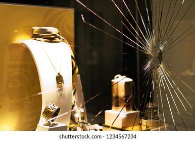 Riga, Latvia - November 19, 2018: Broken window of jewellery shop