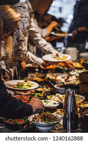 Riga, Latvia November 22, 2018  Breakfast buffet table filled with different food, coffee shop brunch.