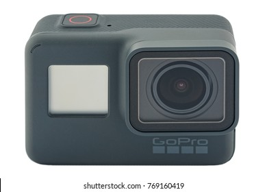 RIGA, LATVIA - NOVEMBER 25, 2017: GoPro HERO 6 Black. Supports 4k Ultra HD video up to 60 fps and 1080p up to 240 fps. Brand new waterproof action camera isolated on white background