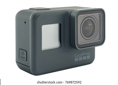 RIGA, LATVIA - NOVEMBER 25, 2017: GoPro HERO 6 Black. Supports 4k Ultra HD video up to 60 fps and 1080p up to 240 fps. Brand new waterproof action camera isolated on white