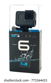 RIGA, LATVIA - NOVEMBER 25, 2017: GoPro HERO 6 Black. Supports 4k Ultra HD video up to 60 fps and 1080p up to 240 fps. Brand new waterproof action camera isolated on white backdrop