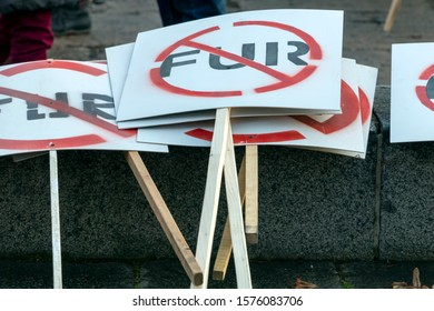 Riga, Latvia - November 30, 2019 : Anti fur placards and posters at Animal Rights Protest. March for Animal Advocacy in Riga, Latvia, Europe