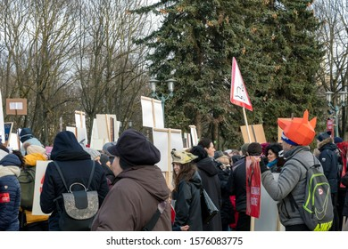 Riga, Latvia - November 30, 2019 : Crowd of activists at Animal Advocacy event with signs and banners in hands protest against animal abuse