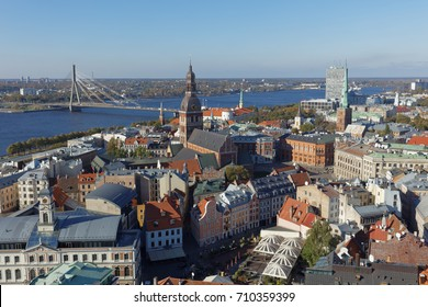 RIGA, LATVIA - OCTOBER 15, 2016: Aerial view to the city of Riga.  With 639,630 inhabitants (2016), Riga is the largest city in the Baltic countries and home to one third of Latvia's population
