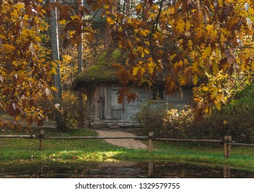RIGA, LATVIA - OCTOBER 15, 2017: Autumn scene of Latvian traditional wooden bath house in the Ethnographic Open-Air Museum of Latvia.