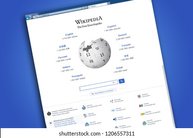 RIGA, LATVIA - OCTOBER 16, 2018: Wikipedia homepage on the computer screen. Wikipedia is a free-access, free content Internet encyclopedia, supported and hosted by the non-profit Wikimedia Foundation