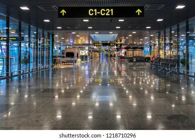 Riga, Latvia - October 28, 2018: Interior of the Riga International Airport, Latvia