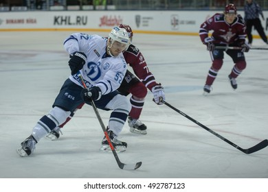 RIGA, LATVIA - OCTOBER 3: Alexei Sopin (52) in the KHL regular championship game between Dinamo Riga and Dynamo Moscow, played on October 3, 2016 in Arena Riga