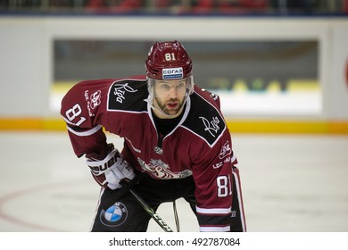 RIGA, LATVIA - OCTOBER 3: Colton Gillies (81) in the KHL regular championship game between Dinamo Riga and Dynamo Moscow, played on October 3, 2016 in Arena Riga