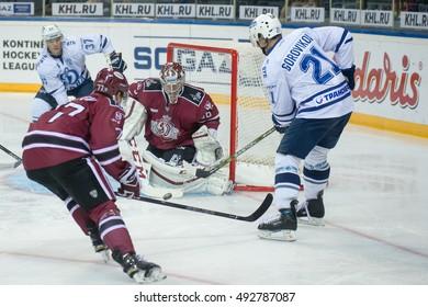 RIGA, LATVIA - OCTOBER 3:  Goalie of Dinamo Riga Jakub Sedlacek (36) saves the goal in the KHL regular championship game between Dinamo Riga and Dynamo Moscow, played on October 3, 2016 in Arena Riga