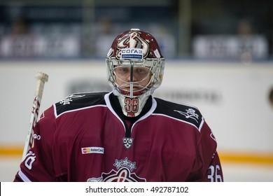 RIGA, LATVIA - OCTOBER 3: Goalie Jakub Sedlacek (36) in the KHL regular championship game between Dinamo Riga and Dynamo Moscow, played on October 3, 2016 in Arena Riga