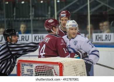 RIGA, LATVIA - OCTOBER 3: Martins Karsums (15) in the KHL regular championship game between Dinamo Riga and Dynamo Moscow, played on October 3, 2016 in Arena Riga