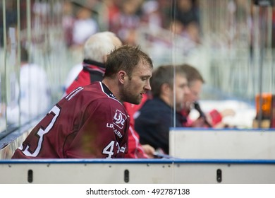 RIGA, LATVIA - OCTOBER 3: Tim Sestito (43) in the penalty box in the KHL regular championship game between Dinamo Riga and Dynamo Moscow, played on October 3, 2016 in Arena Riga
