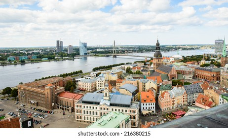 RIGA, LATVIA - SEP 7, 2014:  Panoramic view of the Old Town of Riga. Riga's historical centre is a UNESCO World Heritage Site