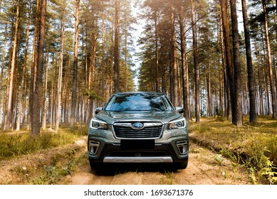 Riga / Latvia - September 09 2019: Subaru Forester e-Boxer outdoors on dirt road during sunny summer day
