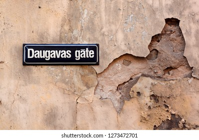 RIGA LATVIA SEPTEMBER 14 2015: Sign of Gate of River Daugava is peculiar narrowing of the ancient valley of Daugava down the Slutišķi village, the narrowest section of the valley