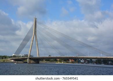 RIGA LATVIA SEPTEMBER 18 2015: The Vansu Bridge in Riga is a cable-stayed bridge that crosses the Daugava river in Riga